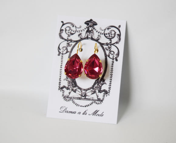 Fuchsia Pink Earrings - Large Teardrop