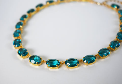 Blue Zircon Swarovski Crystal Necklace - Medium Oval