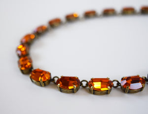 Orange Topaz Swarovski Crystal Necklace - Medium Oval