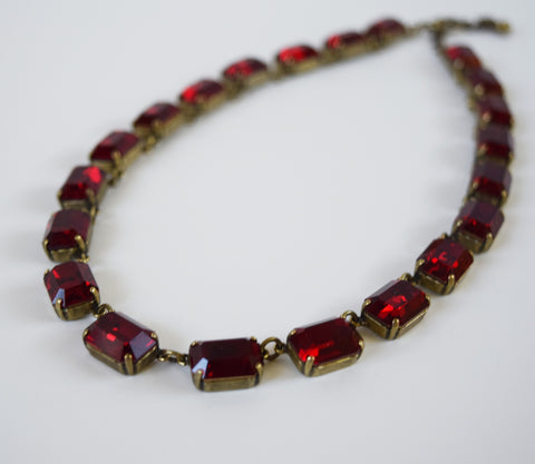 Garnet Red Swarovski Collet Necklace - Medium Octagon