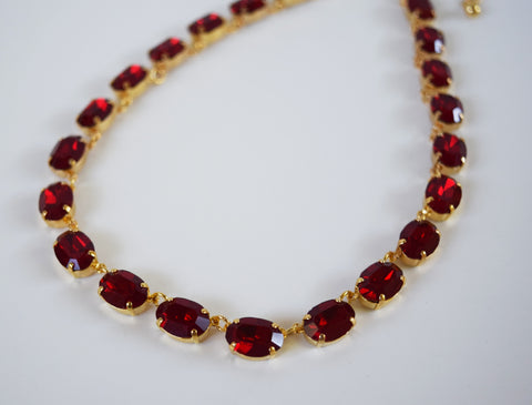 Ruby Red Swarovski Crystal Necklace - Medium Oval