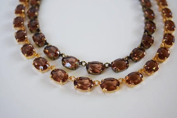 Colorado Topaz Swarovski Crystal Necklace - Medium Oval