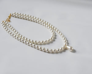 Double Strand Pearl Necklace - Small White with Teardrop