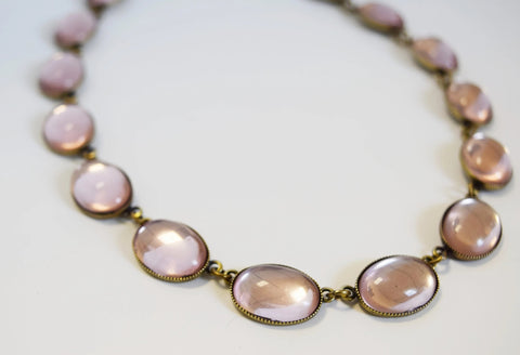 Pale Pink Mirror Back Necklace - Large Oval