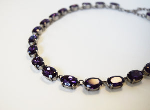 Violet Purple Crystal Collet Necklace - Medium Oval