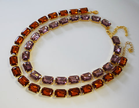 Sale - Large Octagon Necklace - Madeira or Light Amethyst