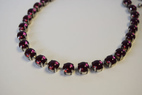 Dark Purple Crystal Necklace - Small Round - SALE