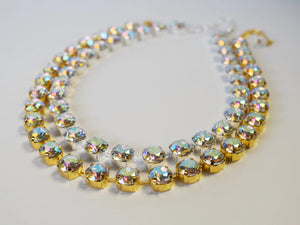 Aurora Borealis Crystal Necklace - Small Round -