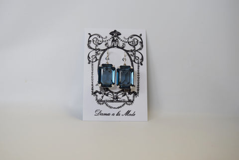 Navy Blue Swarovski Crystal Earring - Large Octagon - SALE