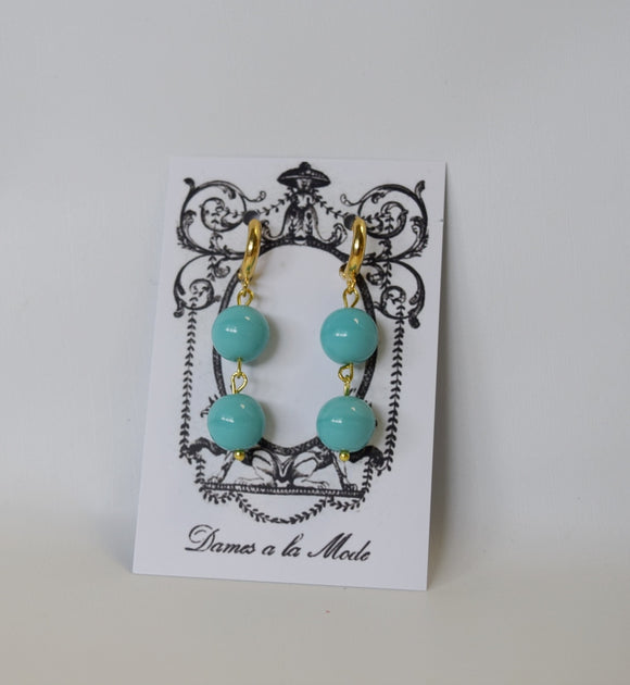 Two-stone glass Turquoise earrings