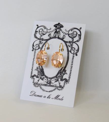 Peach Swarovski Crystal Earrings - Medium Oval - SALE