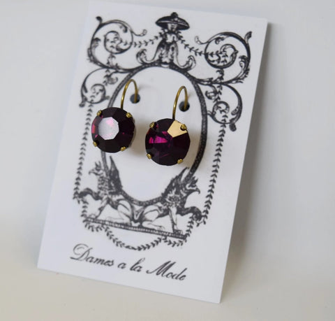 Dark Purple Swarovski Earrings - Small Round - SALE