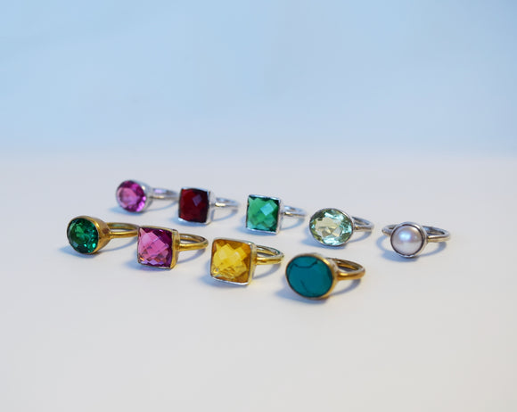 Quartz and Sterling Rings - Size 5 SALE