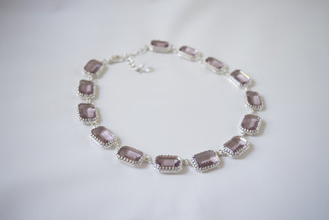 Large Octagon Light Amethyst Riviere Necklace