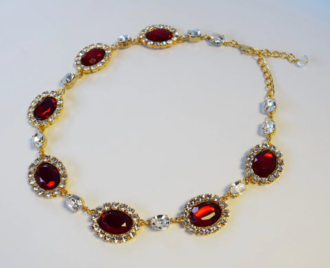 Large Garnet Halo Necklace