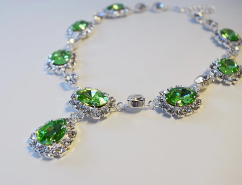 Large Swarovski Peridot Green Halo Necklace