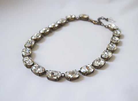 Clear Swarovski Crystal Collet Necklace - Large Oval