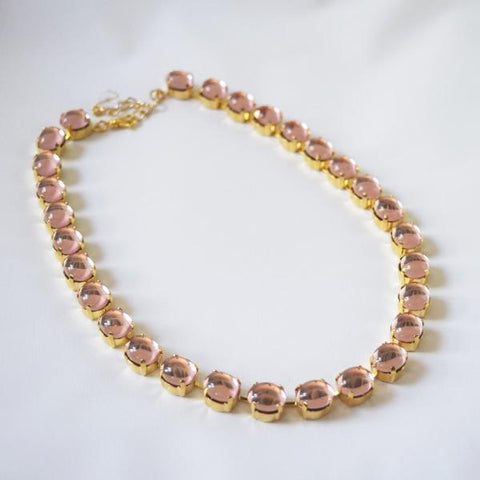 Blush Pink Crystal Mirror Back Rivere - Small Necklace