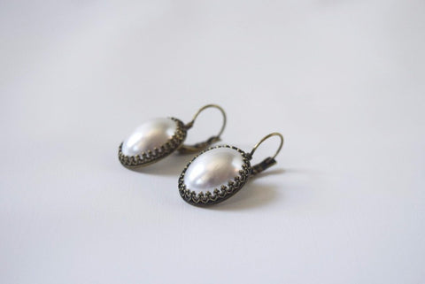 Large Faux Pearl Earrings with Crown Settings