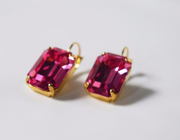 Pink Topaz Swarovski Crystal Earrings - Large Octagon
