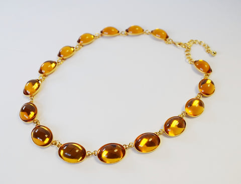 Orange Topaz Swarovski Mirror Back Necklace - Large Oval