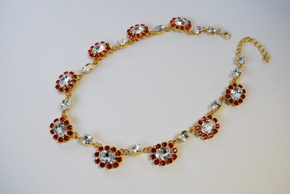 Ruby and Crystal Swarovski Halo Necklace - Medium Oval