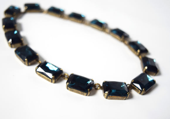 Navy Blue Crystal Collet Necklace - Large Octagon