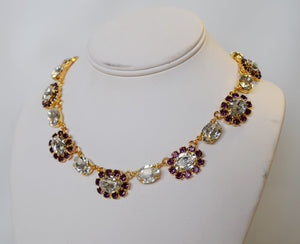 Amethyst and Crystal Swarovski Halo Necklace - Medium Oval