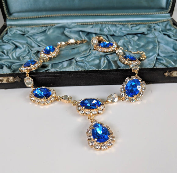 Large Swarovski Sapphire Blue Halo Necklace with Teardrop