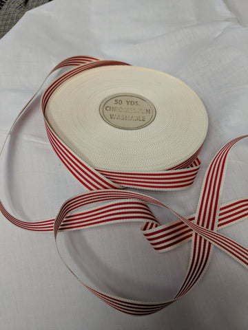 Vintage Red and White Striped Petersham Ribbon