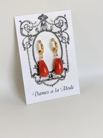 Small Orange Coral Glass Hoop Earrings