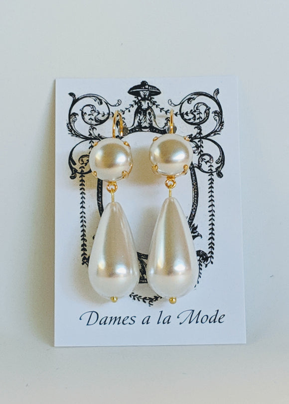 Double Pearl Dangle Earrings - Large