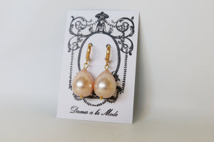 Large Pink Shell Pearl Hoop Teardrop Earrings