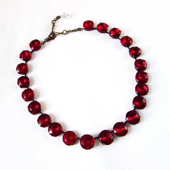 Ruby Red Collet Necklace - Medium Round
