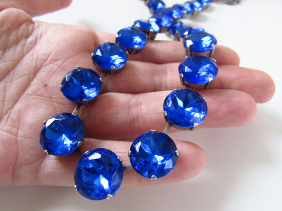 Sapphire Blue  Riviere Necklace - Medium Round