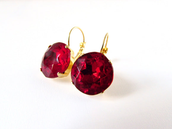 Medium Ruby Red Paste Glass Earrings