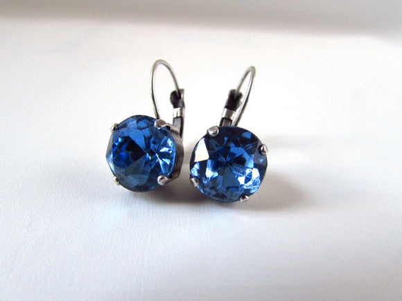 Light Blue Crystal Earrings - Small Round