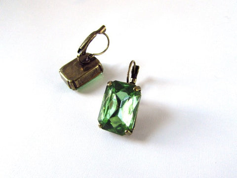 Large Peridot Green Crystal Earrings