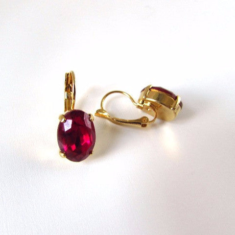 Medium Magenta Pink Paste Glass Earrings