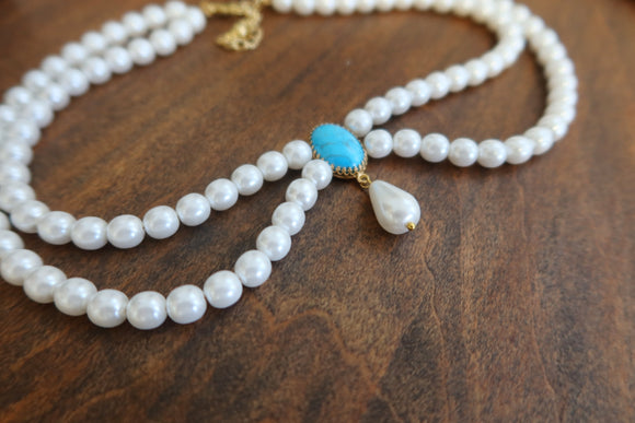 Festoon Necklace - Pearl and Turquoise with Dangle