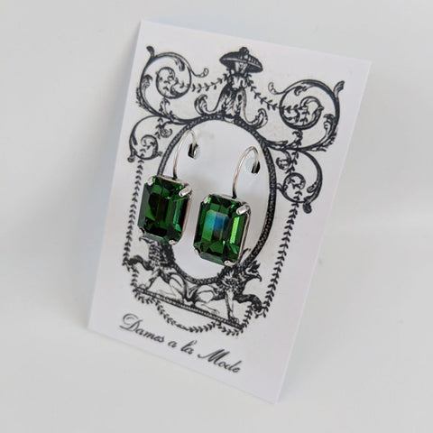 Forest Green Swarovski Crystal Earrings - Medium Octagon