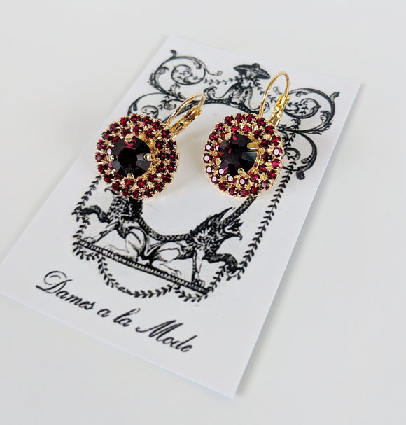 Garnet Crystal Cluster Earrings