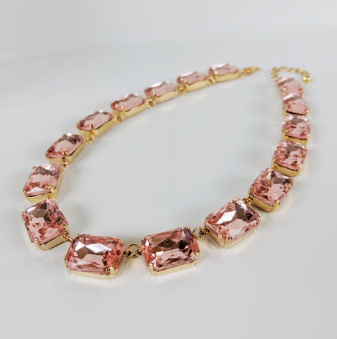 Light Pink Crystal Collet Necklace - Large Octagon