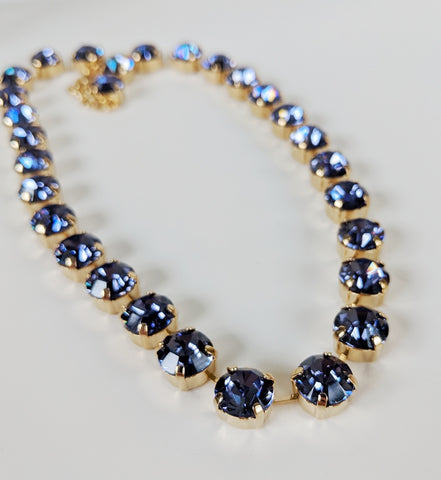 Tanzanite Purple Swarovski Crystal Collet Necklace - Small Round