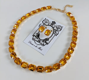 Golden Topaz Crystal Collet Necklace - Small Octagon