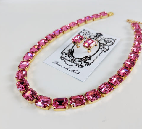 Rose Pink Topaz Crystal Collet Necklace - Small Octagon