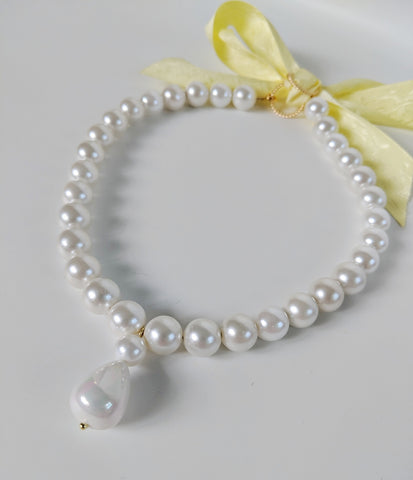 Shell Pearl Necklace - Single Strand with Teardrop