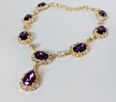 Large Swarovski Dark Amethyst Halo Necklace