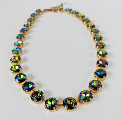 Rainbow Crystal Riviere Necklace - Small Round
