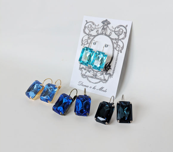 Blue Crystal Earrings - Octagon